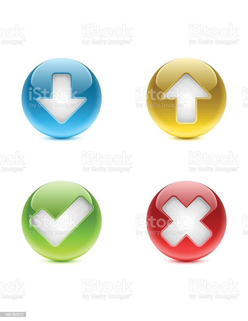 Web Buttons | Download, Upload, Approved, Rejected royalty-free stock vector art