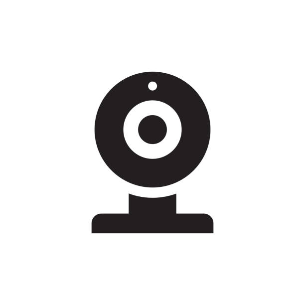 ilustraciones, imágenes clip art, dibujos animados e iconos de stock de icono de cámara - negro web en ilustración de vector de fondo blanco para aplicación móvil, presentación, web, infografía. signo del concepto. elemento de diseño gráfico. - zoom meeting