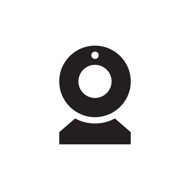 ilustraciones, imágenes clip art, dibujos animados e iconos de stock de icono de cámara - negro web en ilustración de vector de fondo blanco para aplicación móvil, presentación, web, infografía. signo del concepto de cam. elemento de diseño gráfico. - zoom meeting