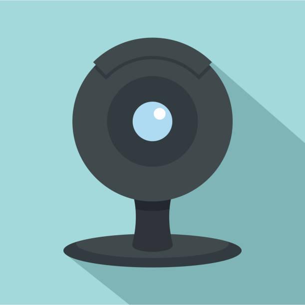 ilustraciones, imágenes clip art, dibujos animados e iconos de stock de icono de cámara web, estilo plano - zoom meeting