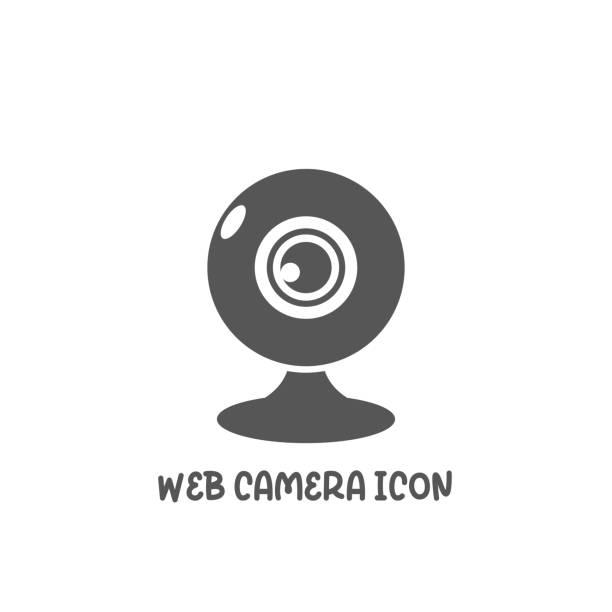 ilustraciones, imágenes clip art, dibujos animados e iconos de stock de icono de cámara web simple ilustración vectorial de estilo plano. - zoom meeting