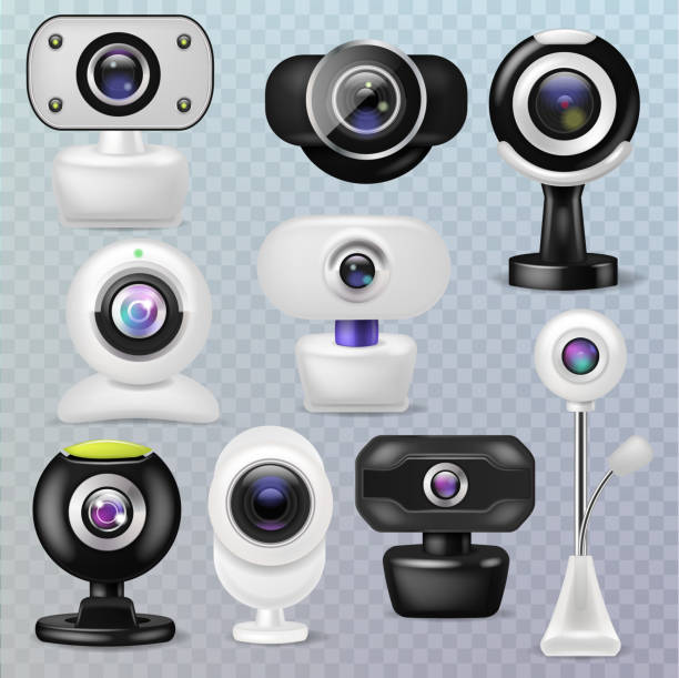 """ilustraciones, imágenes clip art, dibujos animados e iconos de stock de ilustración de dispositivo de la comunicación """"internet tecnología digital web cámara vector webcam"""" sistema de negocios conferencia conexión de gadget en fondo transparente - zoom meeting"""