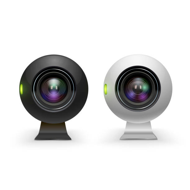 Web cameras white and black realistic set. Computer webcams. Modern technology. vector art illustration