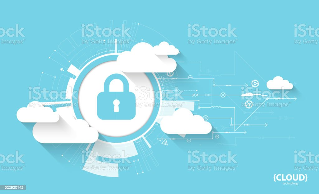Web cloud technology. Protection concept. System privacy, vector illustration - ilustración de arte vectorial
