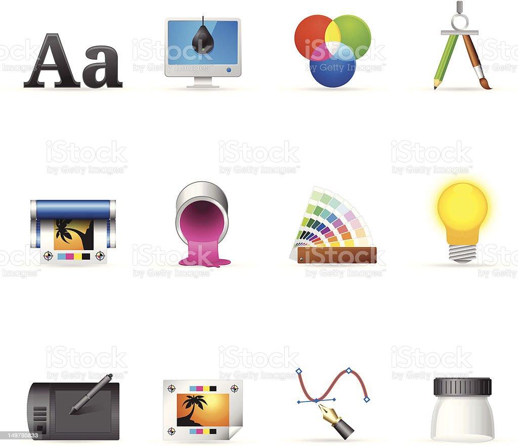 Ícones Web cores de impressão & Design gráfico - ilustração de arte em vetor
