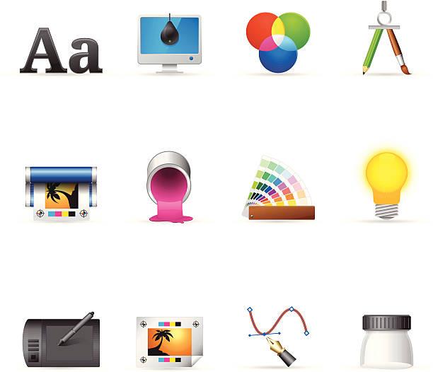 ilustrações, clipart, desenhos animados e ícones de ícones web cores de impressão & design gráfico - fontes e tipografia