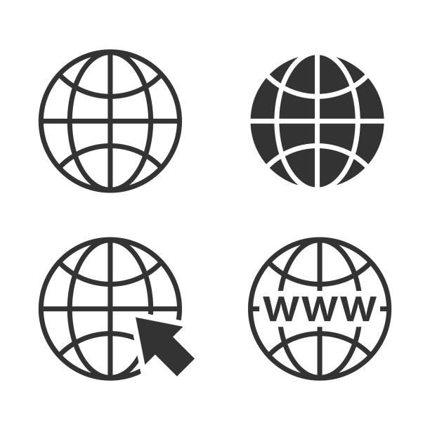 illustrations, cliparts, dessins animés et icônes de web concept globe icon set et icône de site web. - www