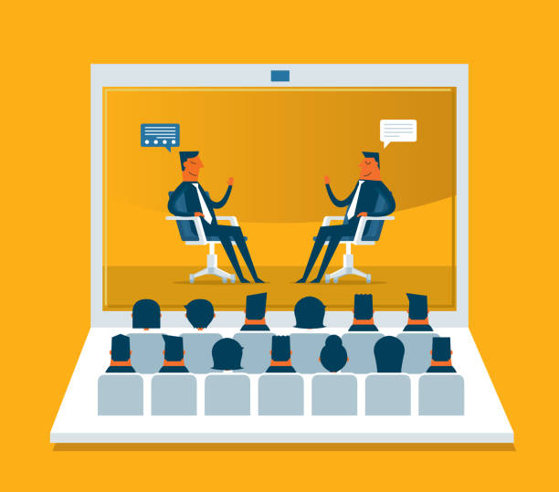 web conference - business - e-learning not icons stock illustrations