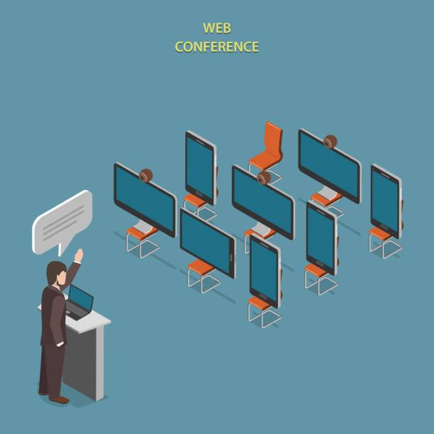 web conference flache isometric vektor-konzept. - video konferenz stock-grafiken, -clipart, -cartoons und -symbole