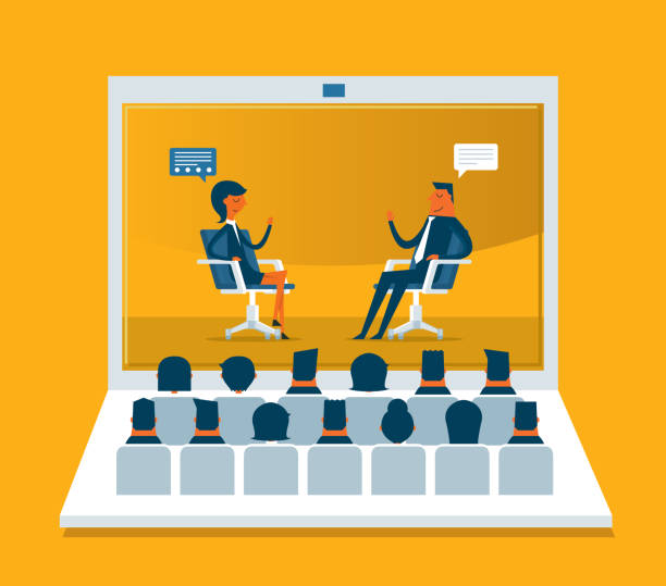 Web Conference vector art illustration
