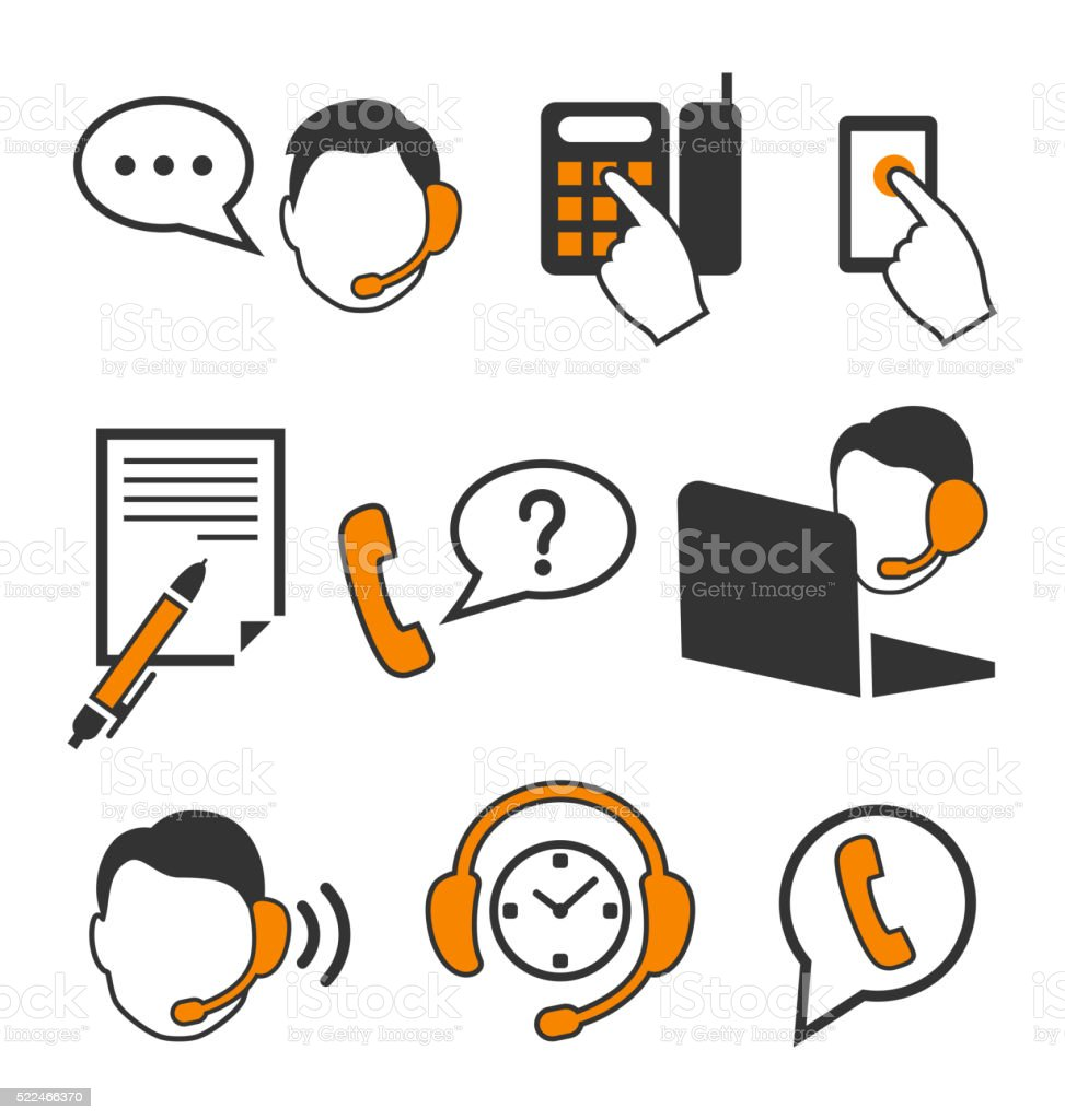 Single Line Word Art : Web consultants with headphones call center icons flat