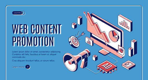 Web content social media promotion web banner vector art illustration