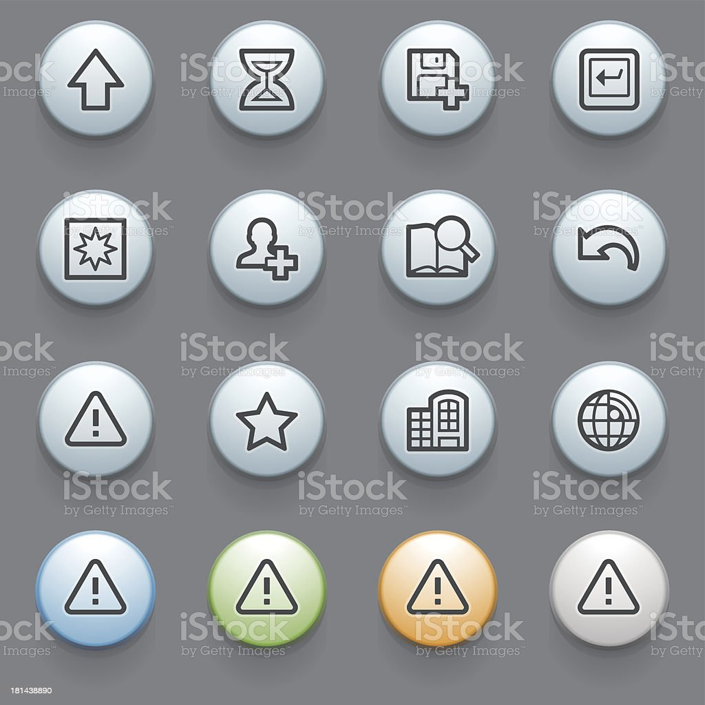 Web contour icons with color buttons on gray background. royalty-free stock vector art