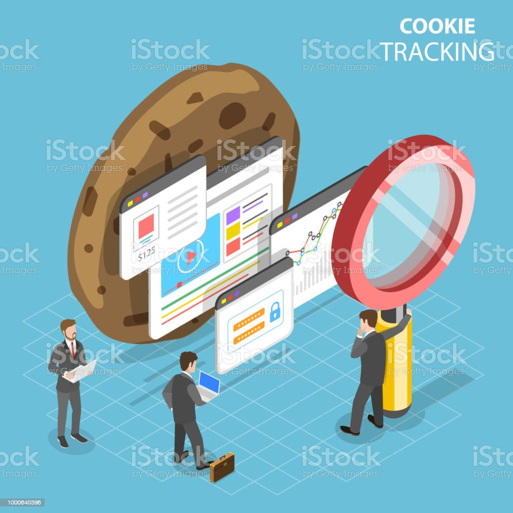 Web cookie tracking flat isometric vector concept. vector art illustration