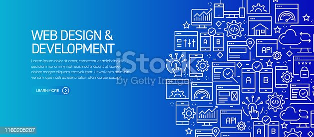 Web Design and Development Banner Template with Line Icons. Modern vector illustration for Advertisement, Header, Website.