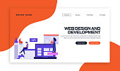 Web Design and Development Concept Vector Illustration for Landing Page Template, Website Banner, Advertisement and Marketing Material, Online Advertising, Business Presentation etc.