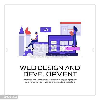 Web Design and Development Concept Vector Illustration for Website Banner, Advertisement and Marketing Material, Online Advertising, Business Presentation etc.