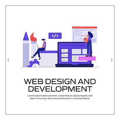 Web Design and Development Concept Vector Illustration for Website Banner, Advertisement and Marketing Material, Online Advertising, Business Presentation etc.