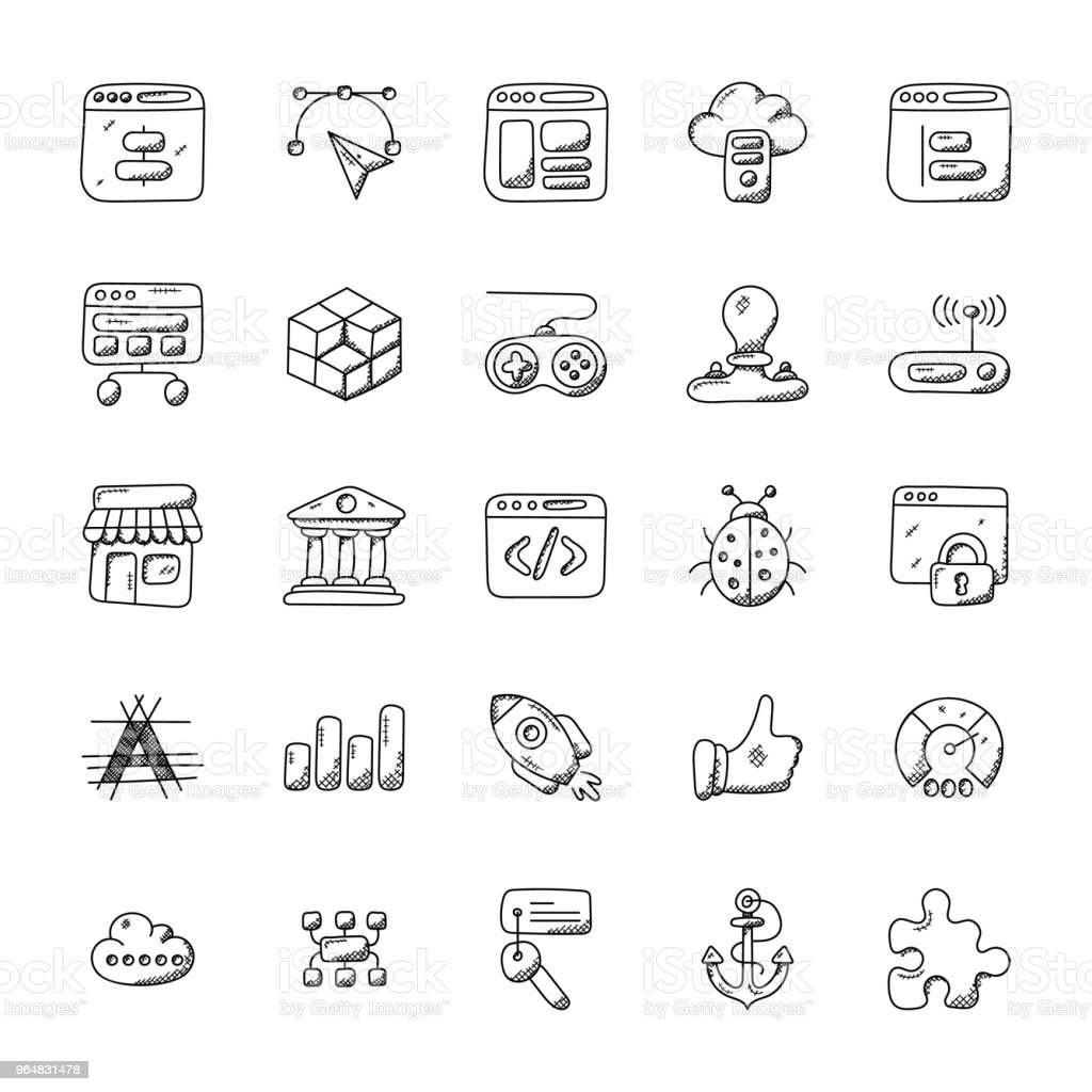 Web Design and Development Doodle Icons royalty-free web design and development doodle icons stock vector art & more images of bank