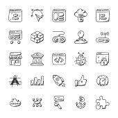 Web Design and Development Doodle Icons