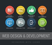 Web Design and Development chart with keywords and icons. Flat design with long shadows