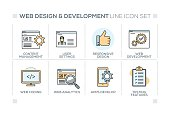 Web Design and Development chart with keywords and line icons