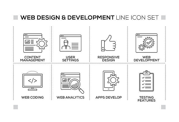 Web Design and Development keywords with monochrome line icons Web Design and Development chart with keywords and monochrome line icons website design stock illustrations