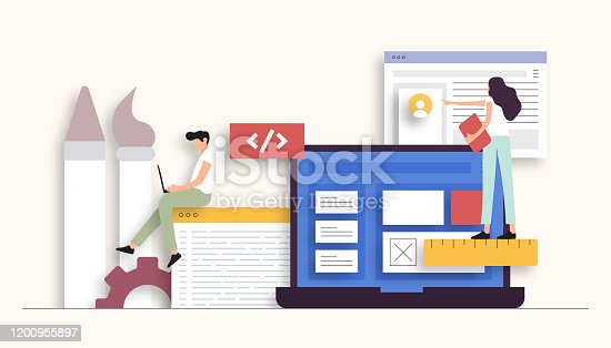 Web Design and Development Related Vector Illustration. Flat Modern Design for Web Page, Banner, Presentation etc.