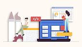Web Design and Development Related Vector Illustration. Flat Modern Design for Web Page, Banner, Presentation etc.