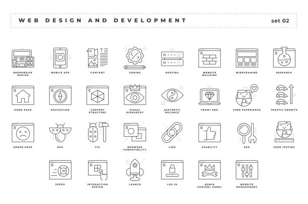 Web design and development. Set of pixel-perfect icons. Thin line style. Variety of unique and creative visual metaphors suitable for wide range of uses. Web design and development. Set of pixel-perfect icons. Thin line style. Variety of unique and creative visual metaphors suitable for wide range of uses. Vector. test drive stock illustrations