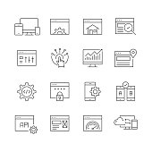 Web Design and Development - Set of Thin Line Vector Icons