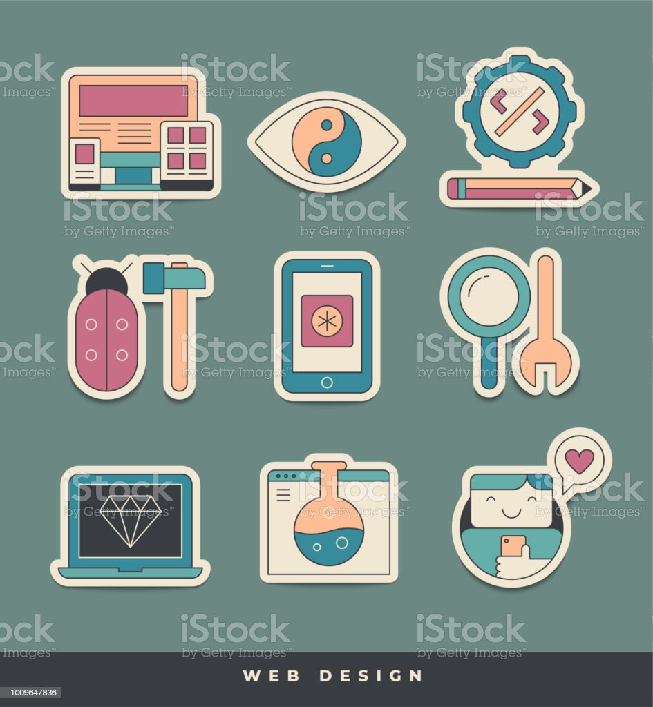 Web design and development stickers unique and creative visual metaphors suitable for wide range of uses illustration
