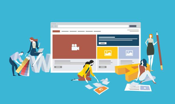 bildbanksillustrationer, clip art samt tecknat material och ikoner med webbdesign och utveckling - kvinna tillfreds