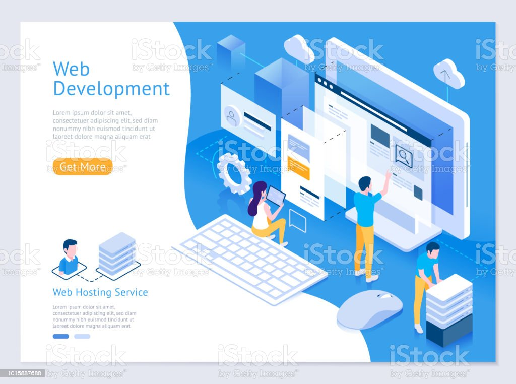 Web design and development vector isometric illustrations. vector art illustration