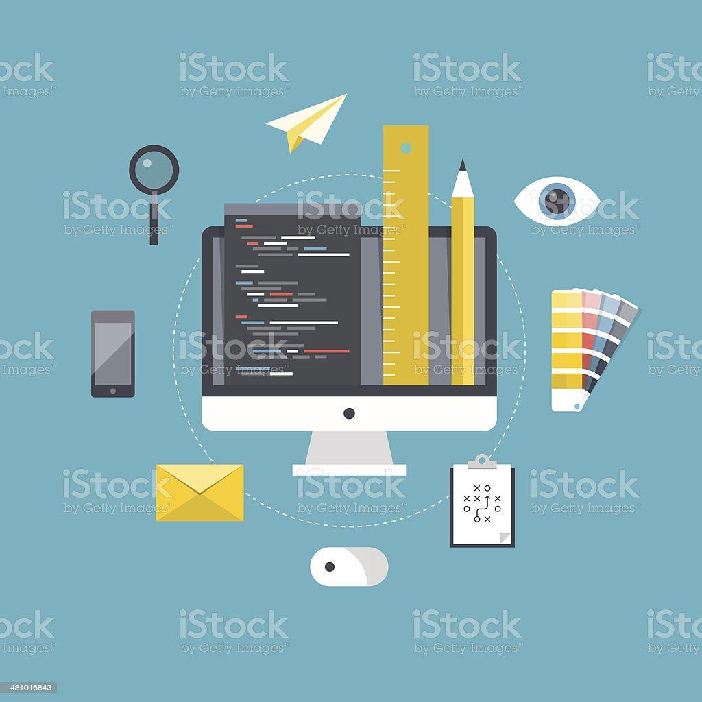 Web design and programming development vector art illustration