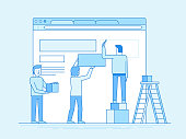 Vector illustration in trendy flat and linear style - web design and user interface development concept - small people building website with blocks in the browser - banner and infographics design template