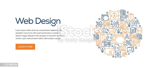 istock Web Design Banner Template with Line Icons. Modern vector illustration for Advertisement, Header, Website. 1132488264