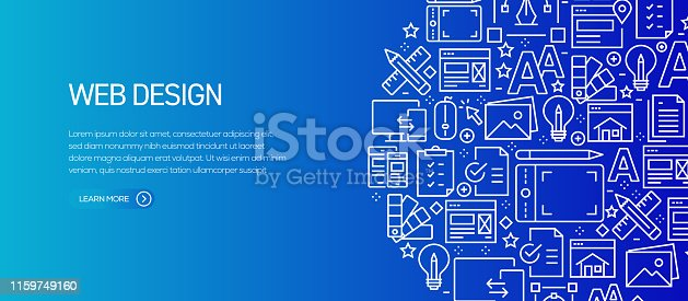 Web Design Banner Template with Line Icons. Modern vector illustration for Advertisement, Header, Website.