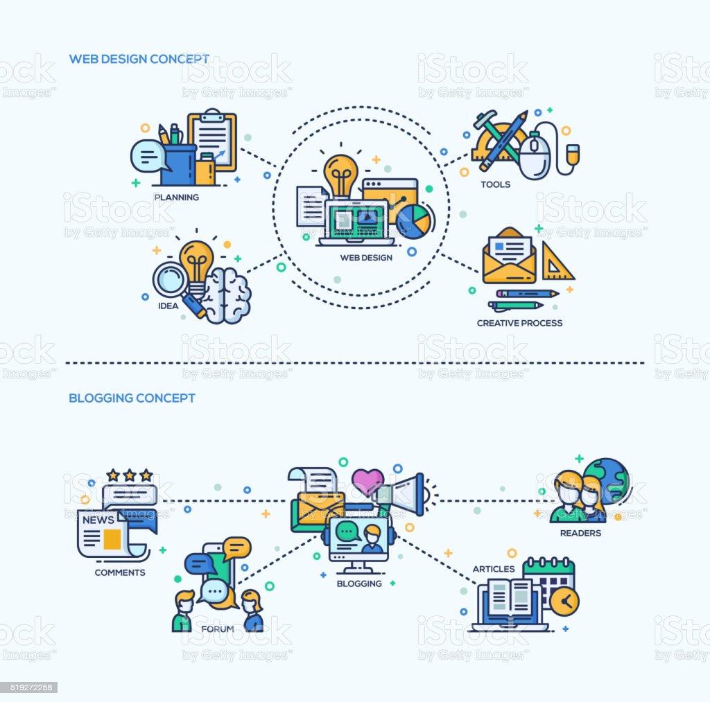 Web Design, Blogging Icons Concept Compositions Set vector art illustration
