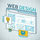 Web design browser products and ideas concept. EPS 10 file. Transparency effects used on highlight elements.