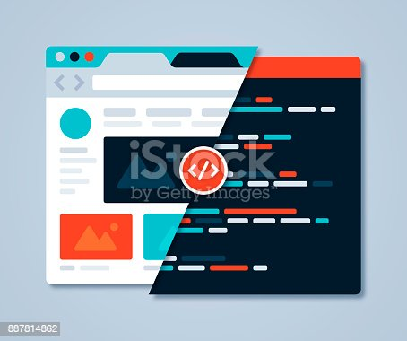 Webpage coding and website design browser concept.