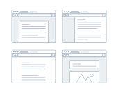 Webpage layout website design browser concept.