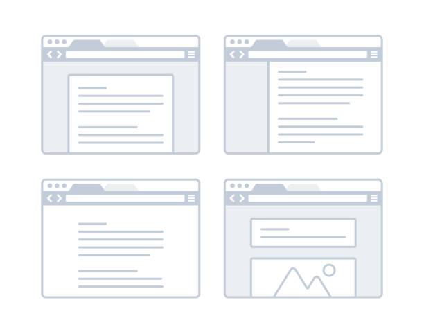 Web Design Browser Webpage layout website design browser concept. website wireframe stock illustrations