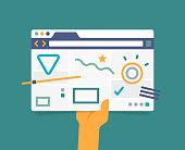 Browser webpage internet layout UI UX design.