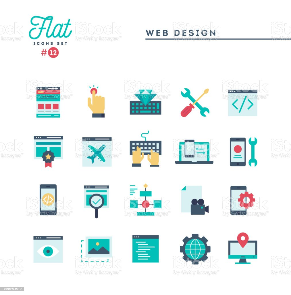 Web design, coding, responsive, app development and more, flat icons set vector art illustration