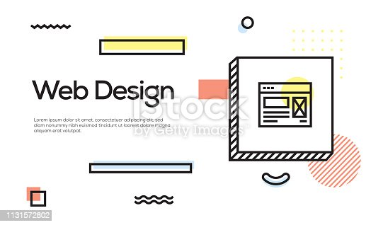istock Web Design Concept. Geometric Retro Style Banner and Poster Concept with Web Design icon 1131572802