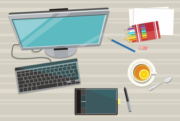 web-design-konzept - tablet mit displayinhalt stock-grafiken, -clipart, -cartoons und -symbole