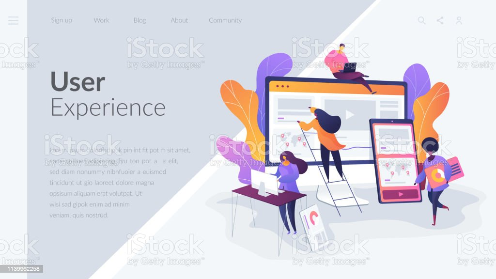 Web design development landing page template. Web design, User Interface UI and User Experience UX content organization. Web design development concept.Website interface UI template. Landing web page with infographic concept creative hero header image. Art stock vector