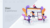 Web design, User Interface UI and User Experience UX content organization. Web design development concept.Website interface UI template. Landing web page with infographic concept creative hero header image.