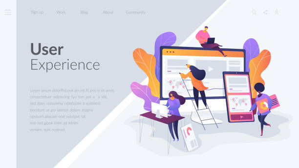 web design development landing page template. - projektant stock illustrations